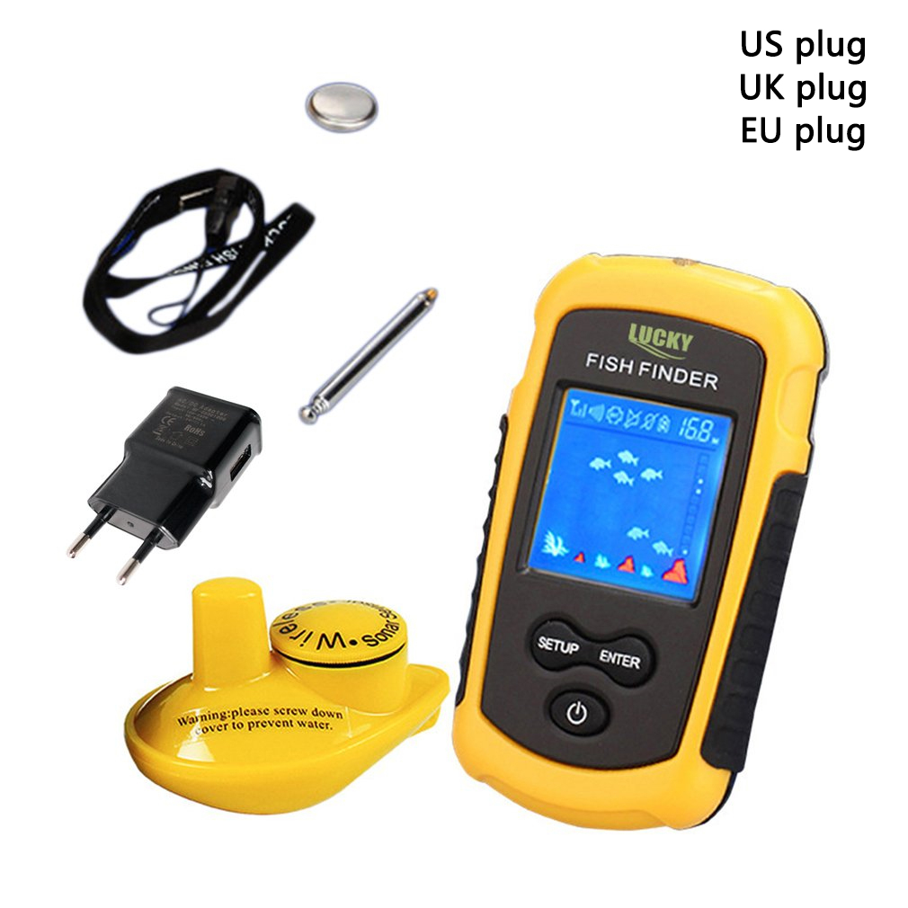 LUCKY FFW1108-1 Wireless Sonar Fish Finder 40m Depth Range Ocean Lake Sea Fishing Water Resistant Fish Detector lucky ff3308 wireless wifi sonar fish finder with 3 5 inch colorful tft display 40m depth capability