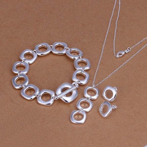 Silver plated refined luxury gorgeous fashion noble elegant Quartet three piece hot selling classic silver jewelry S162