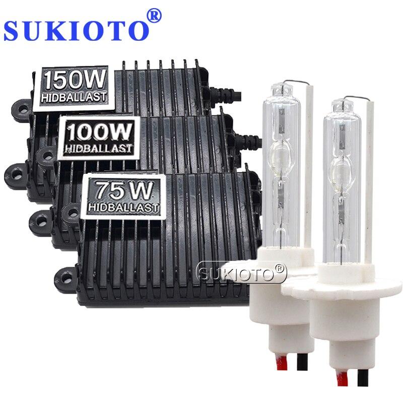 SUKIOTO HID Headlight 100W xenon kit H7 H1 H3 H8 H11 hid xenon kit 75W 150W hid ballast high power car light 4300K 6000K 8000K (8)