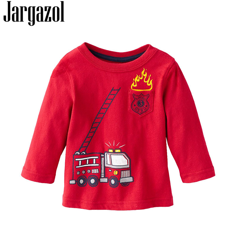 Jargazol Kids T-shirt 2018 New Autumn Long Sleeves T Shirt Patch Girls Boys Tshirt Children Shirts Tops Tees Clothing for 2-6Y стоимость