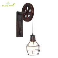 Loft Industrial Wall Light Vintage 1 Light Adjustable Iron Wall Sconce Lifting Pulley Wall Lamp Edison vanity Light Fixture