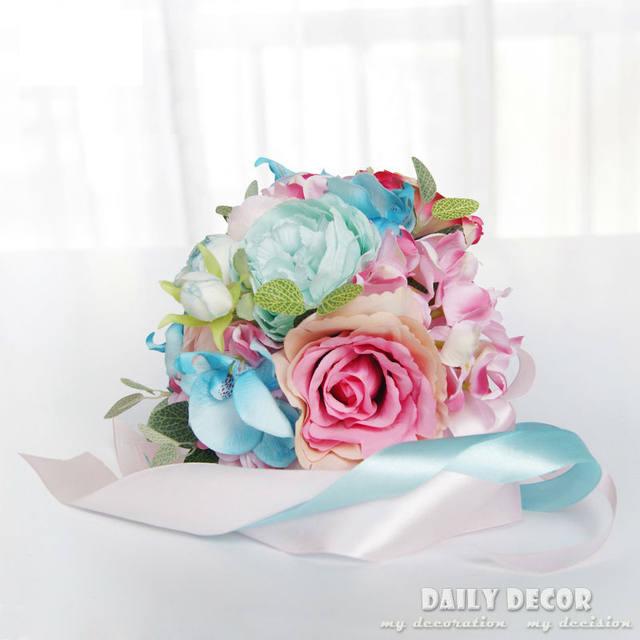 Online Shop Pink + Tiffany blue Artificial silk flower wedding bride ...