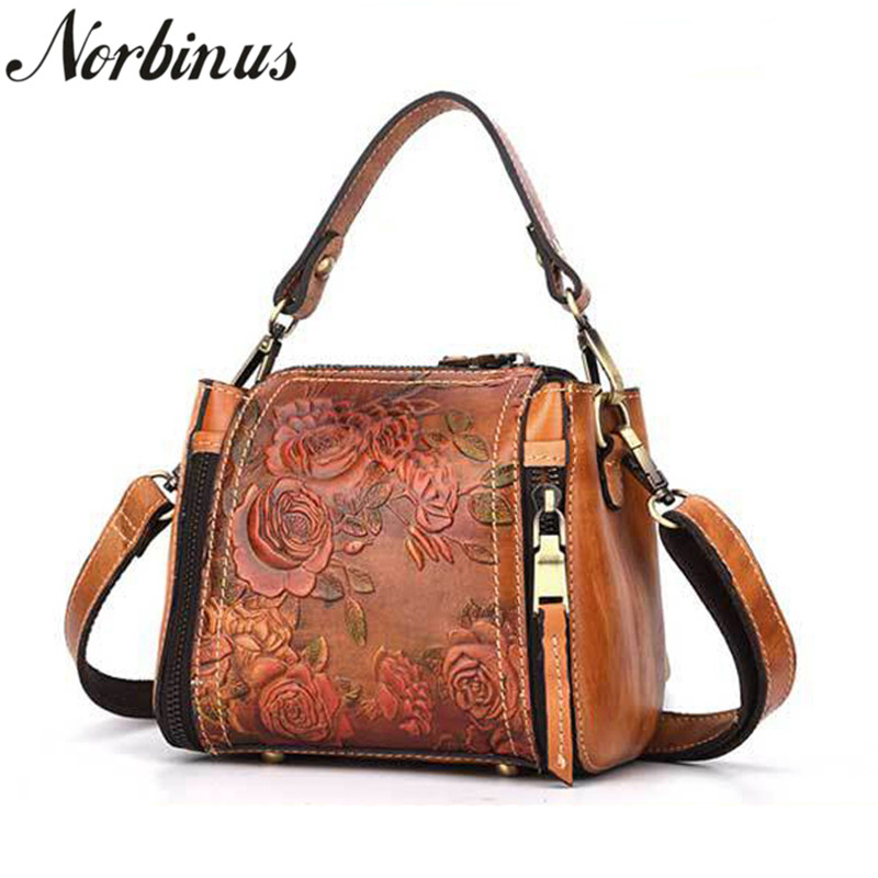 Norbinus Women Single Shoulder Messenger Bag Luxury Genuine Leather Crossbody Handbags Brand Designer Top Handle Bags Small Tote цена