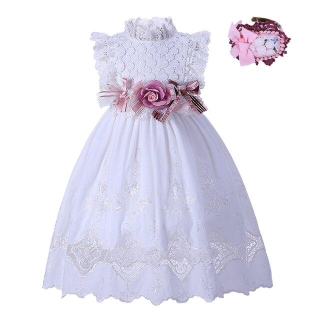 30806751b6 Pettigirl chrzciny kwiat biały dziewczyna sukienki letnie chrzest koronkowa  sukienka dla dziewczynki stałe łuk sukienka z