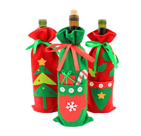 1pc Creative Christmas Tree Gloves Gift Bags Christmas Red Wine Bottle Cover Green Dining Table Party XMAS Gift Supplies