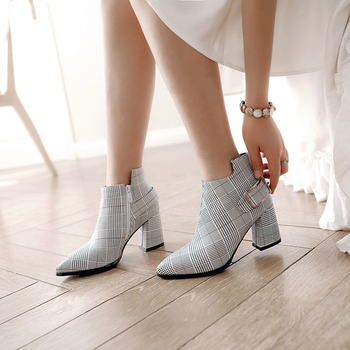 2019 Large Size Women Boots Fashion Plaid Pointed Toe High Heels Women's Shoes Sexy Autumn Winter Ankle Boots female n245 2