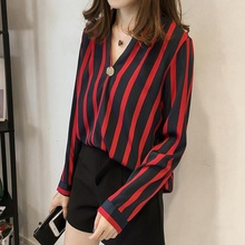 купить Fashion Striped Blouse Shirt For Women Long Sleeve V-neck Shirts Female Casual Tops Blouse Femme Blusas Mujer de Moda 2019 онлайн