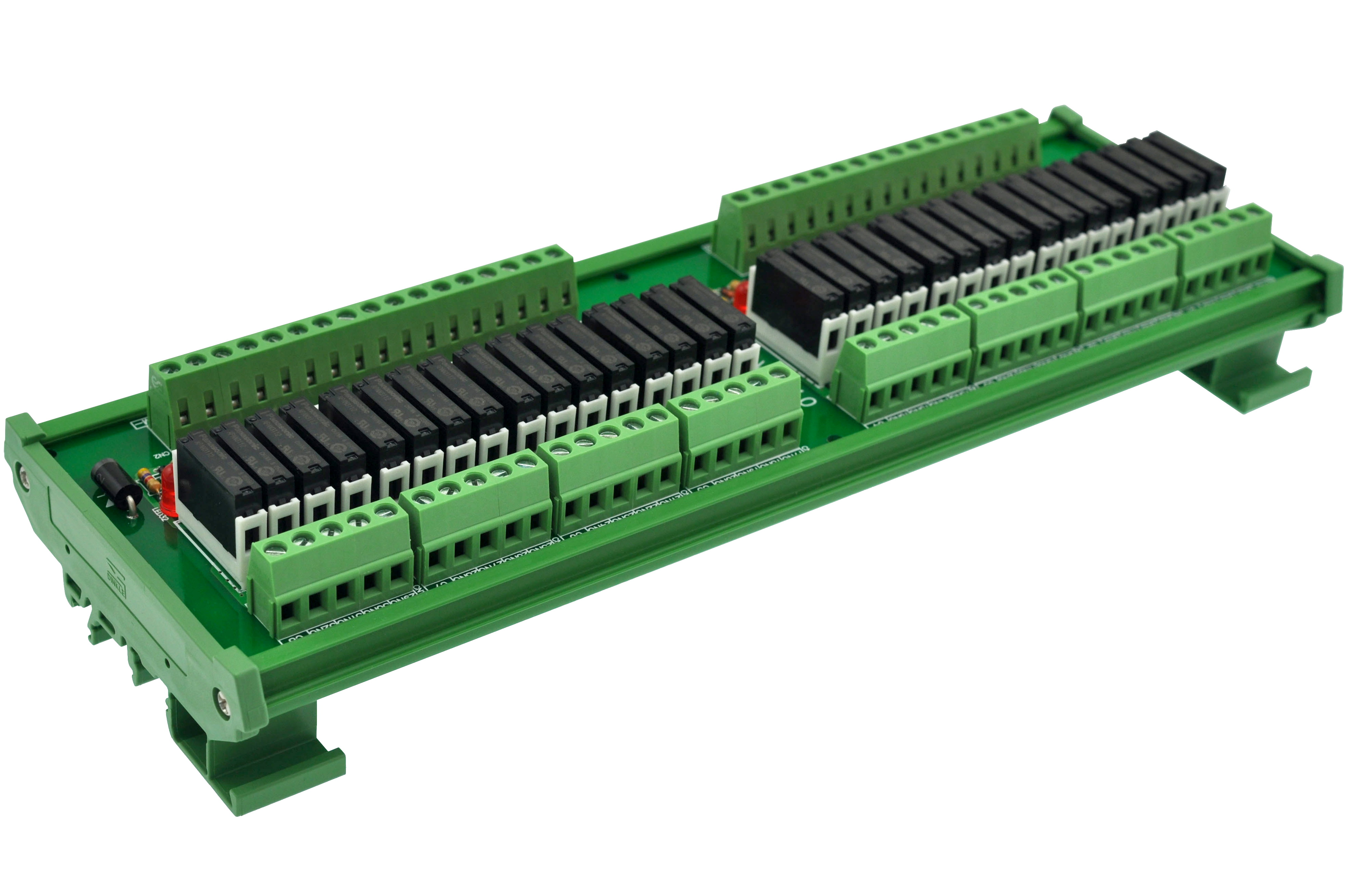 Slim DIN Rail Mount DC12V Source/PNP 32 SPST-NO 5A Power Relay Module, APAN3112