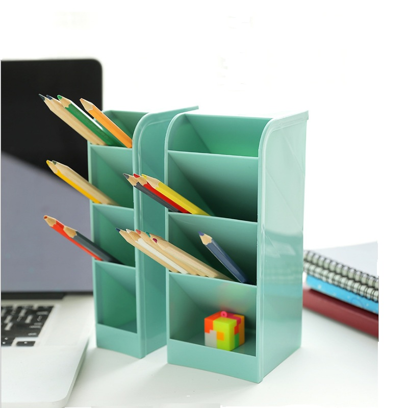 2packs Multi-function 4 Grid Desktop Pen Holder Office School Storage Case Clear 4 Colors  Plastic Box Desk Pen Pencil Organizer