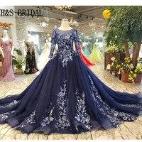 H & S свадебные Винтаж с длинным рукавом платья для выпускного вечера вечерние платья с аппликацией вечернее платье abendkleider темно синий для вы