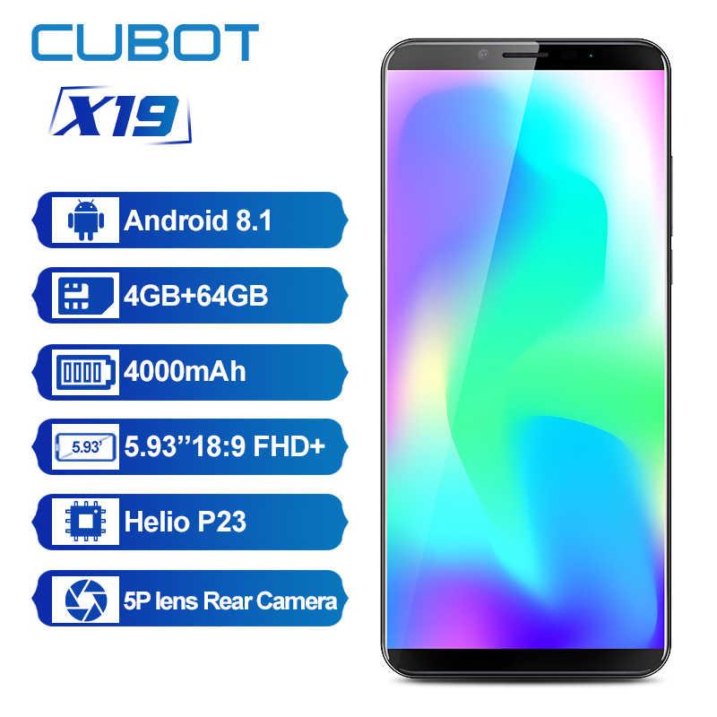 Cubot X19 هيليو P23 الثماني النواة 18:9 FHD + 4GB + 64GB 5.93 'الهاتف الذكي المزدوج كاميرا 16.0MP 2160*1080 4000mAh 4G LTE ID الوجه الهاتف المحمول