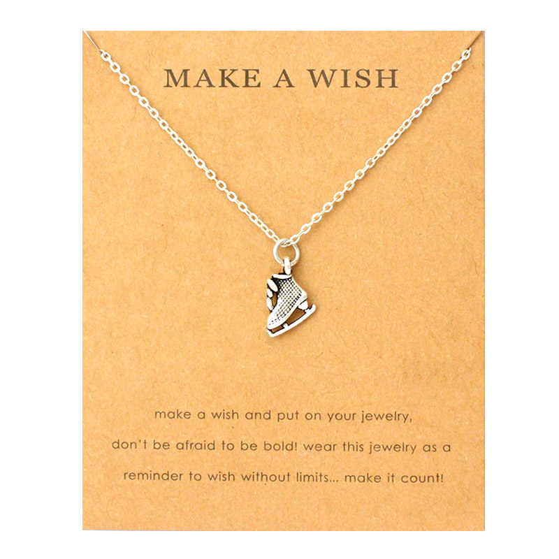 Ice Figure Skates Boots Pendants Necklaces Acorn Pine Ice Skates Wings Music Charms Women Men Unisex Fashion Jewelry Friend Gift