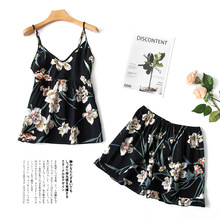 купить Daeyard Silk Floral Cami & Shorts PJ Set 2019 Summer New Women Sleeveless Pijama Nightwear Overall Print Pajama Set Sleepwear по цене 559.91 рублей