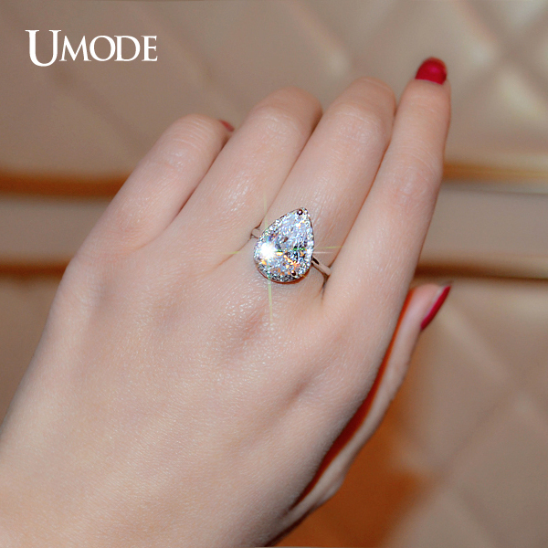 Umode Brand Wedding Rings For Women White Gold Color 4 Carat Pear Cut Cubic Zirconia Micro Cz Halo Engagement Ur0145b In From Jewelry