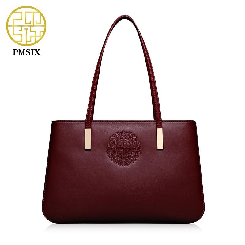 Pmsix 2018 Women Embroidery Flower Split Leather Ladies Shoulder Bag Designer Handbag Brand Handbag Bolsa Feminina P220017