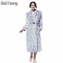 98f9037291 BabYoung Winter Bathrobes for Women Flannel Warm Robe Thicken Bathrobe Sexy  Leopard Print Long Sleeve Nightgown Night Dress