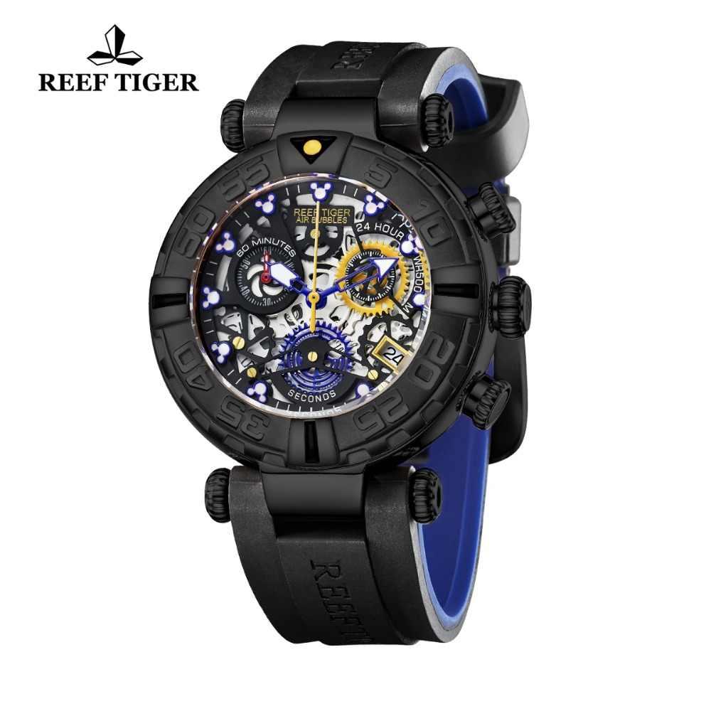 שונית טייגר/RT שחור גברים שעון גדול שלד עמיד למים רצועת גומי הכרונוגרף להפסיק לצפות תאריך ספורט שעונים RGA3059-S