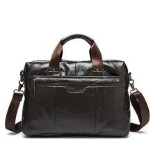Luxury Genuine Cowhide Leather Men Briefcase Laptop HandBag Men Oil Wax Leather Shoulder Bag Business Man Handbag Tote Portfolio