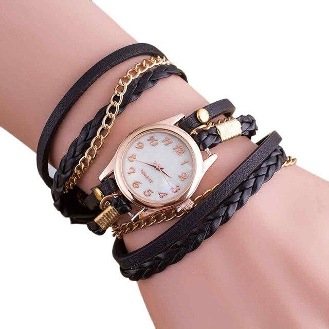 Hot Luxury women Watches Fashion Wrap Bracelet Watch Synthetic Leather Chain Wri