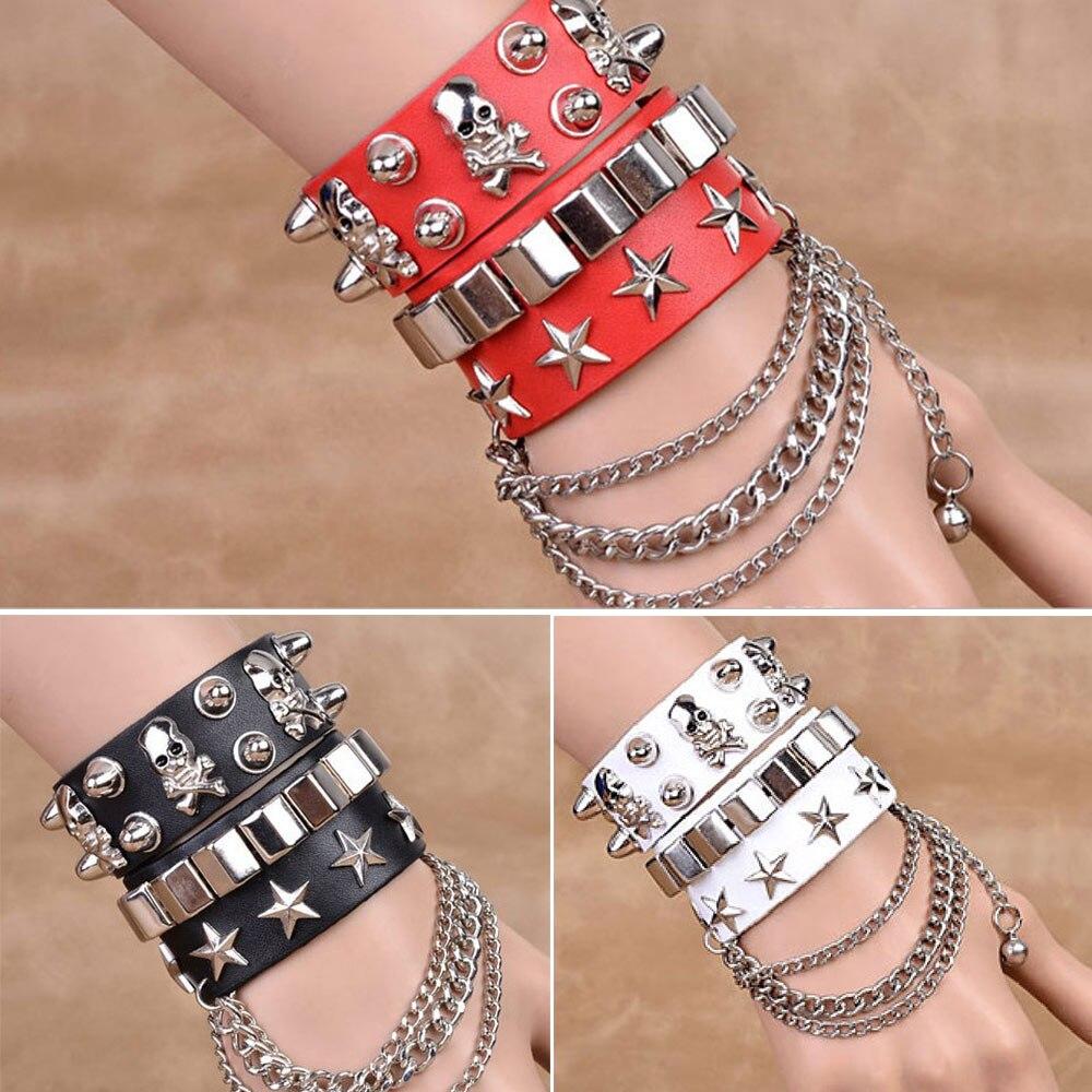 Gothic Skull Punk Jewelry Men Bracelet Women Bracelet Rivet Leather Cuff Bangle W/Adjustable Button