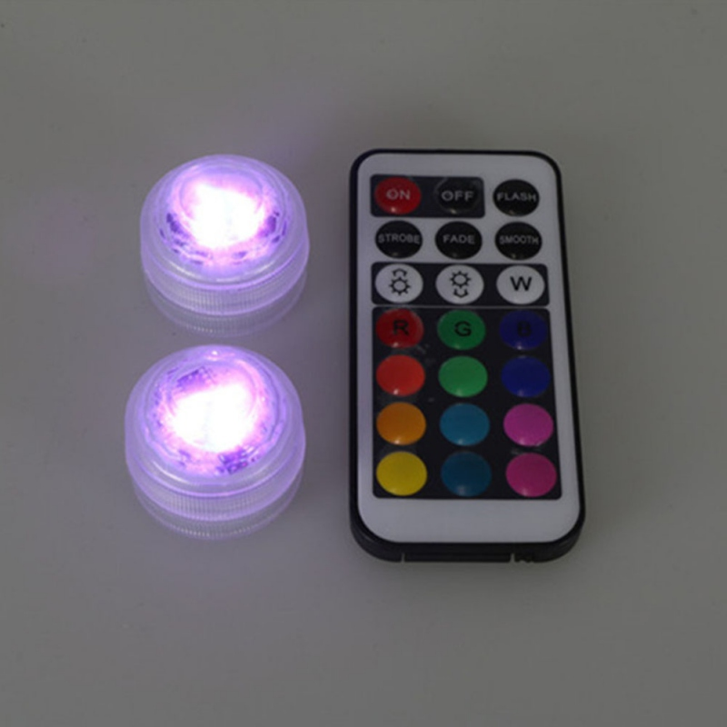 RGB LED Underwater Submersible Lights Round Candle Light For Indoor Outdoor Fountain Pond Swimming Pool