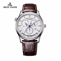 Reef Tiger/RT Automatic World Time Watch for Men White Dial Steel Watch with Date Day RGA1951