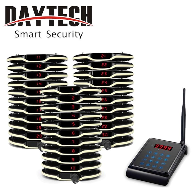 DAYTECH Wieless llamada Pager sistema restaurante invitado paginación de montaña 1 teclado 30 transmisor sistema de llamada