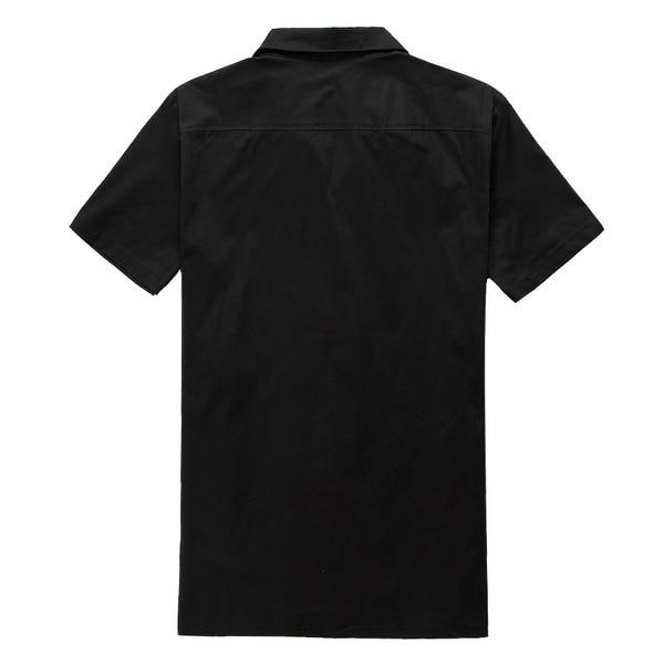 2019 새로운 짧은 소매 단추 collared 검은 색 빨간색 - 남성 의류 - 사진 4