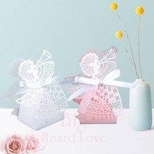 Big Heard Love 50 шт./лот лазерная резка Ангел Свадебная коробка Детские сувениры для душа коробка конфет Подарочная коробка вечерние принадлежности Свадебные украшения