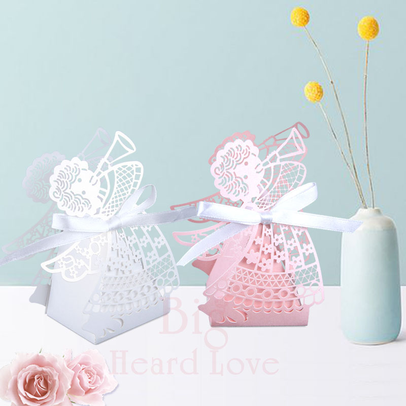 Big Heard Love 50pcs/lots Laser Cut Angel Wedding Box Souvenirs Baby Shower Candy Box Gift Box Party Supplies Wedding Decoration
