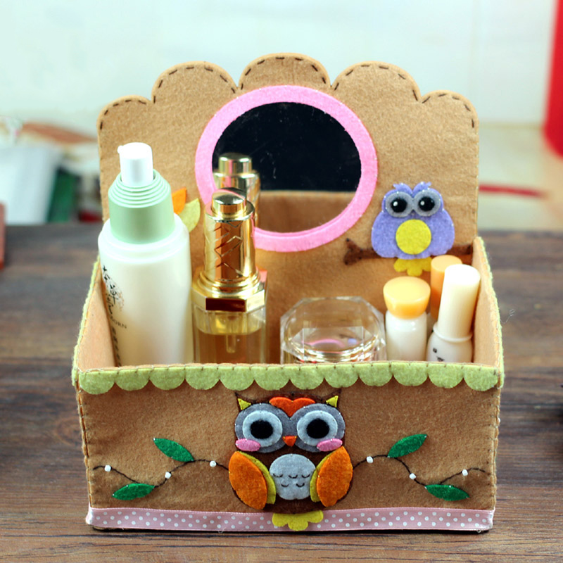 Lovely Owl Style Cosmetic Container Dressing Case Makeup Case Jewel Box Desktop Storage Box Felt DIY Material Package For Girls