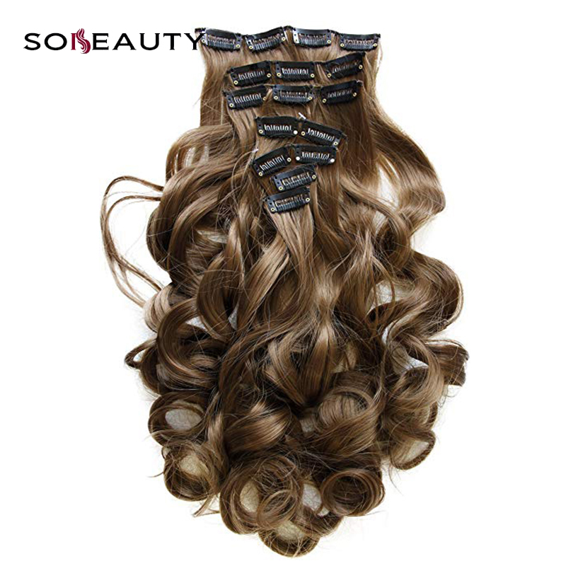Sobeauty Hair-Extensions Body-Wave-Light Clip-In Seamless Remy Brown 1b-Color 7pcs 16-18-20-22-Machine-Made