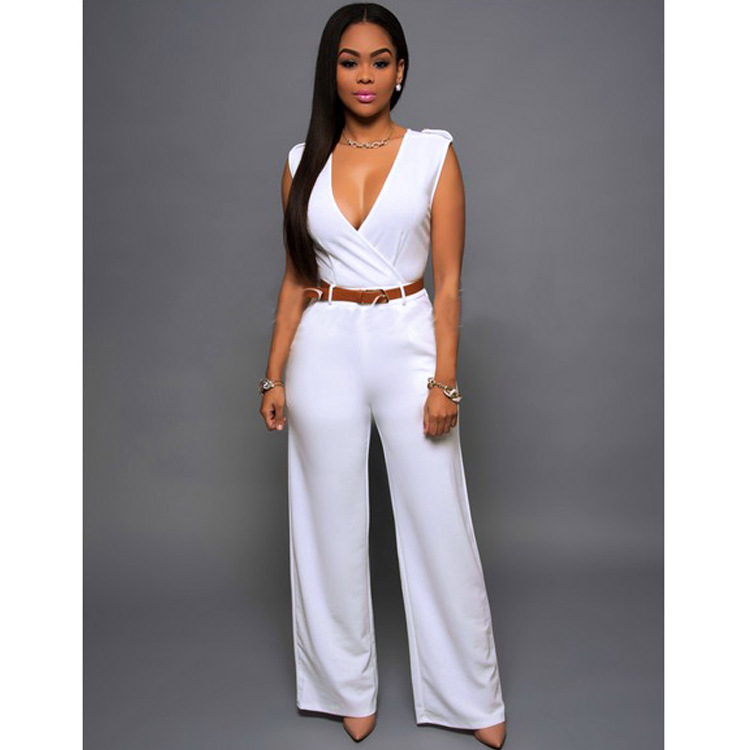 2fb7166f1ef AS55 Elegant Jumpsuit Romper Spring Summer Solid V Neck Casual Sleeveless  Combinaison Femme Playsuit Overalls-in Jumpsuits from Women's Clothing & ...