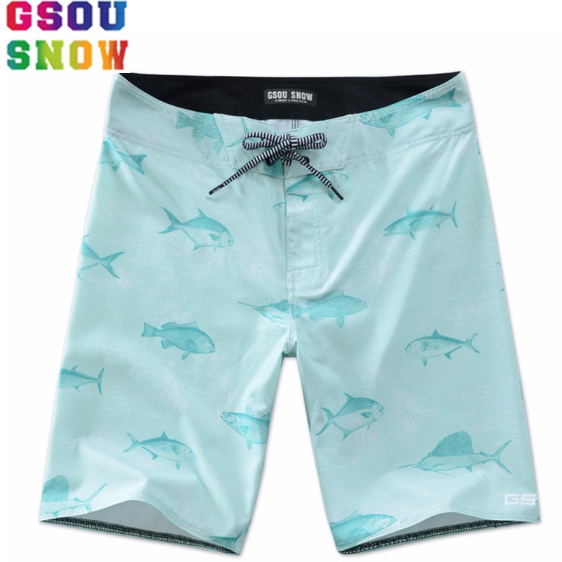 GSOU SNOW Brand Beach Board Shorts Men Swimwear Swim Shorts Quick Dry Printed Surfing Swimming Shorts Motorboat Sports Trunks