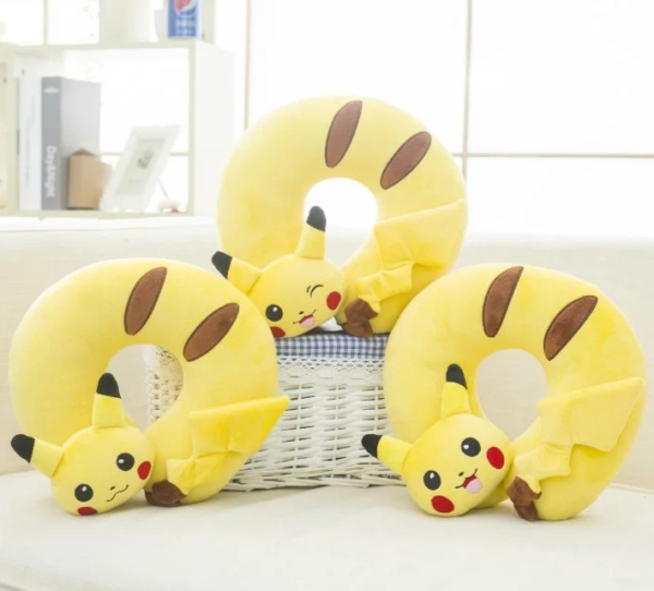 Candice guo! plush toy cute creative cartoon animal Pikachu stereo U shaped pillow neck pillow birthday Christmas gift 1pc