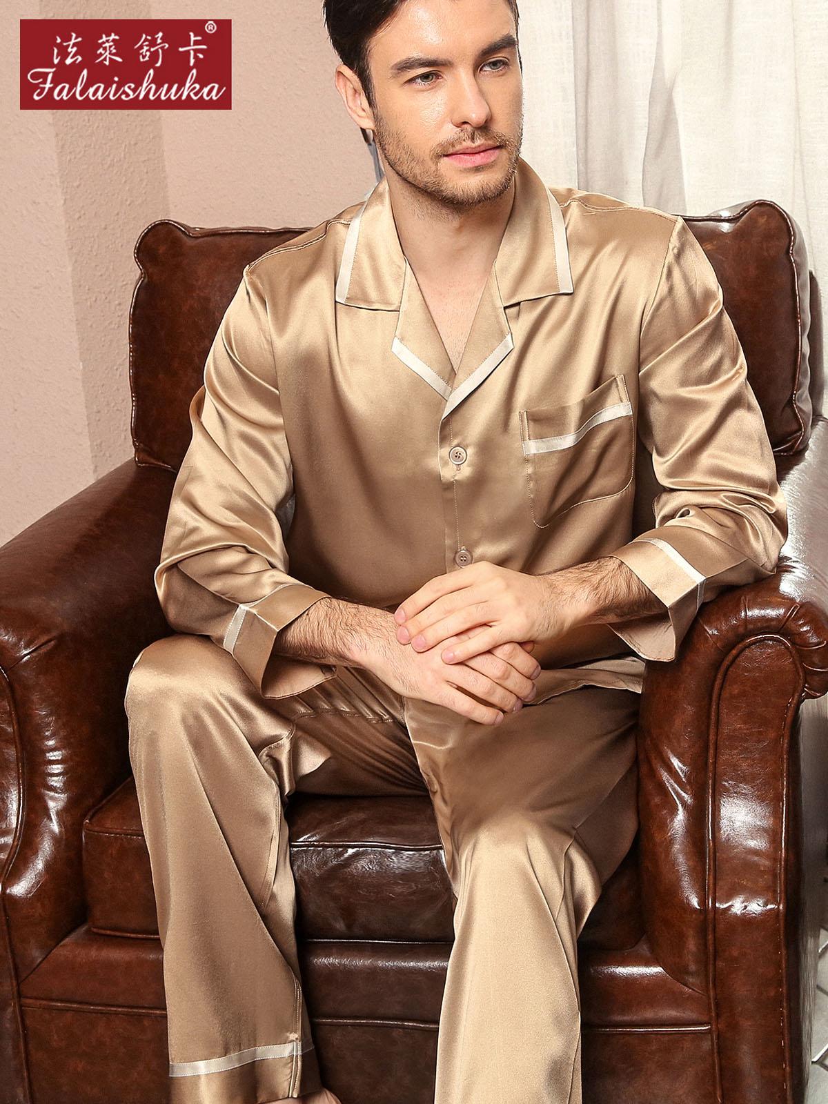 22 Momme 100% Genuine Silk Pajamas Sets Men Elegance Long Sleeve Quality Homewear 2019 New Male Noble Natural Silk Pijamas Men