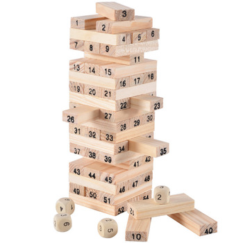 54 Blocks 4 Dices Stacking Party Family Challenge Balance Game Wooden Tumbling Stacking Tower building blocks Education Toy