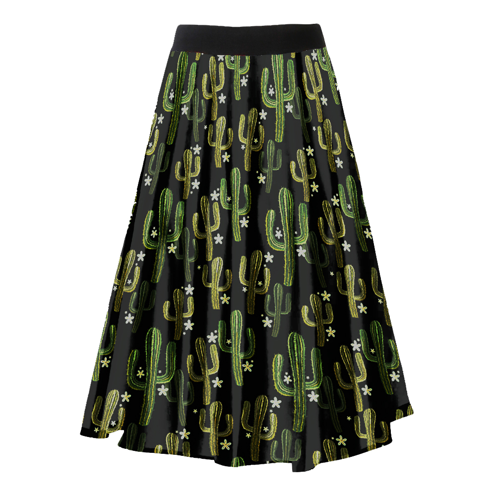 Vintage 50s Inspired Custom Made Green Cactus Print Circle Skirt Rockabilly Ladies Clothes