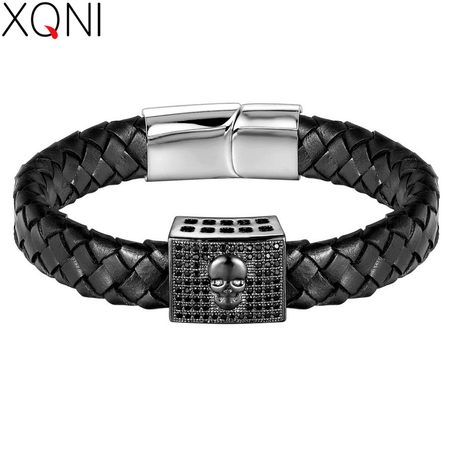 XQNI Easy Hook Stainless Steel Bracelets With Skull Pattern Sport Style 4 Colors For Male Pulseira de couro genuino Men Jewelry