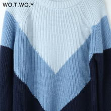 Autumn Winter Contrast Color Pullovers