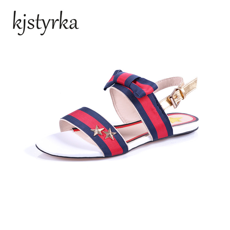 Kjstyrka Brand 2018 Woman Sandals Ladies Fashion Shoes Bule Red Stripes Bowtie Flat Heel Sandals Female summer shoes beach women sandals 2016 fashion woman summer shoes sandals female beach wedges shoes high heel shoes sandals