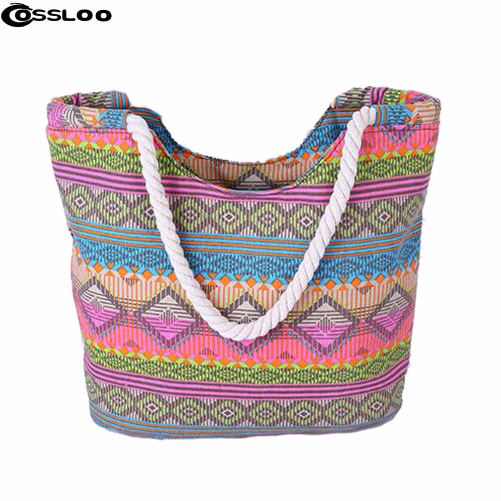 Canvas Shoulder Bag Flower Bags Big Drawstring Tote Shopping Handbag Laides Messenger Bags