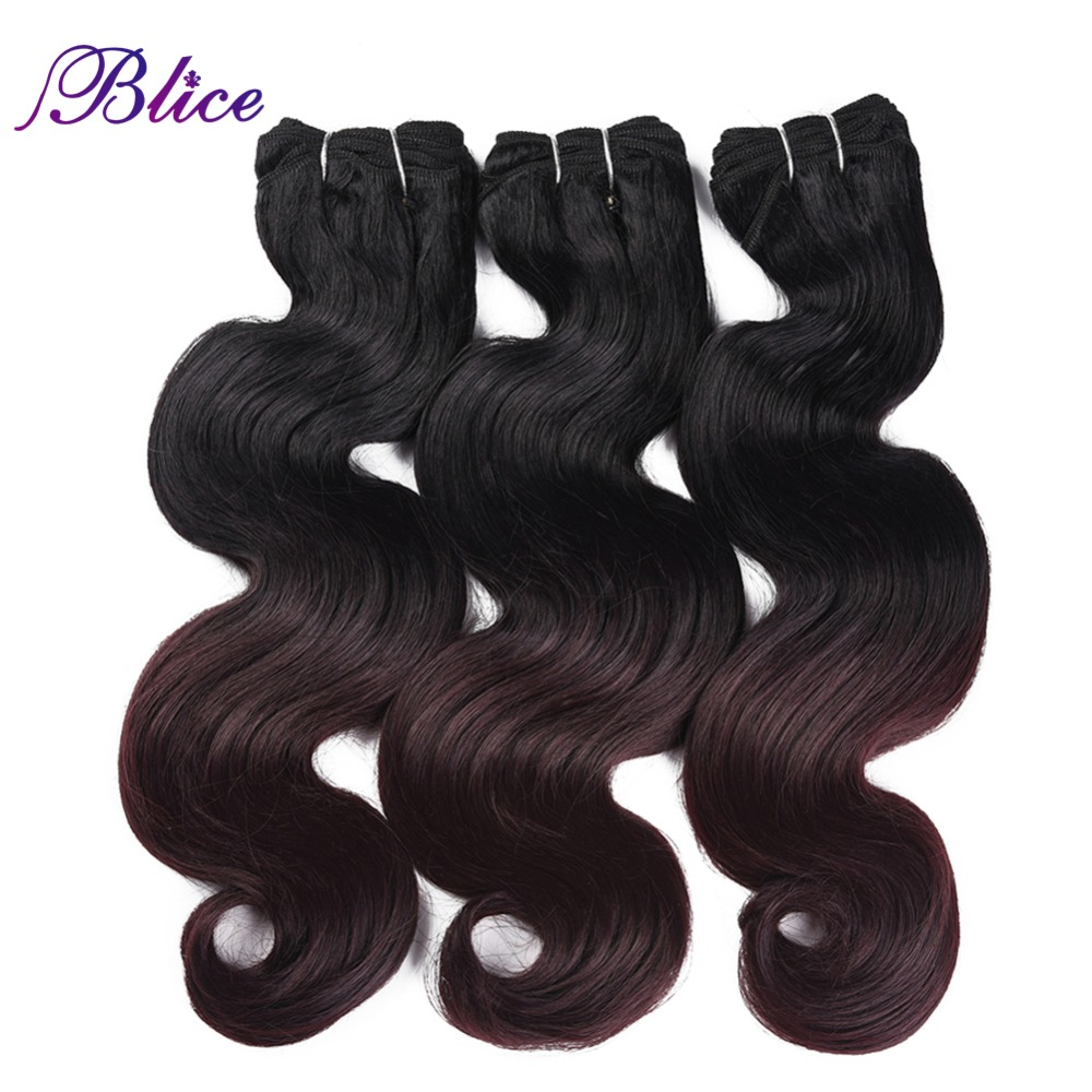 Blice Synthetic Hair Weaving 18-26 Inches Mix #T1B/99J Body Wave Double Long Weft Sew in Hair Extensions 100G/Piece 3Pieces/Lot