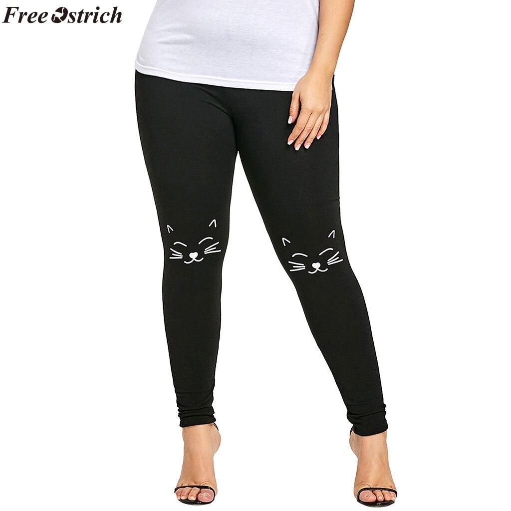 FREE OSTRICH women's kitten print high waist tight leggings elastic push up pants slim jogging workout fitness pants plus size