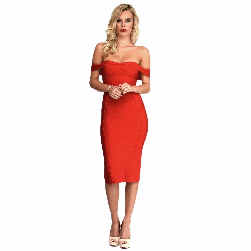 red off shoulder slash neck open back 2017 women's new arrivals rayon knee length bandage dress
