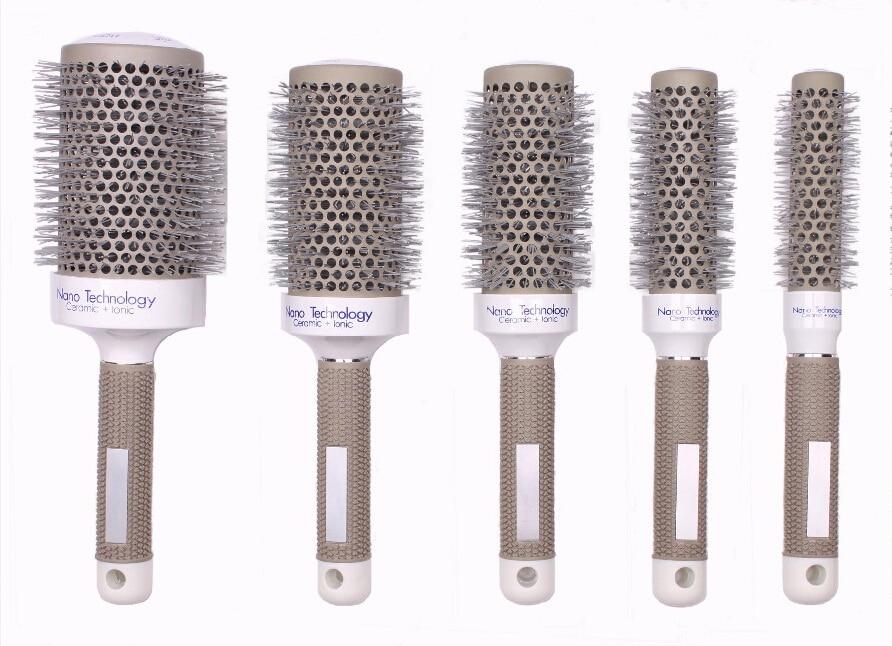 Spazzola in ceramica resistente al calore in nylon Spazzola per capelli rotonda in tecnologia ionica nano CB-97 Alta qualità 5 pezzi / set