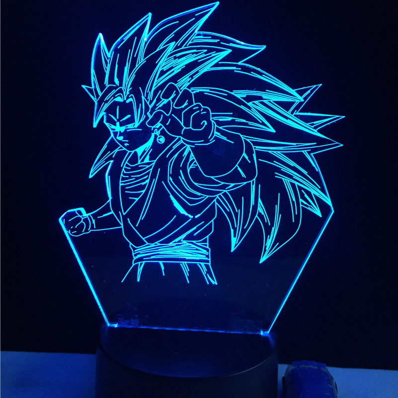 ჱ3D LED USB Table Lamp Cartoon Dragon Ball Figure God Super Saiyan ...