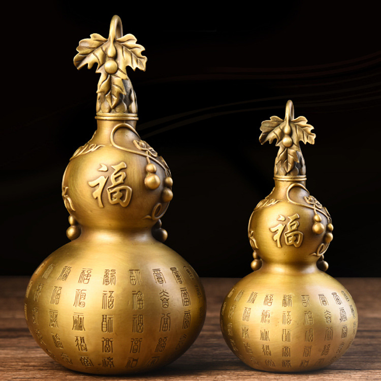 Style chinois pur cuivre gourde ornements artisanat chanceux Hooli Feng Shui maison salon porche décorations Figurines miniatures