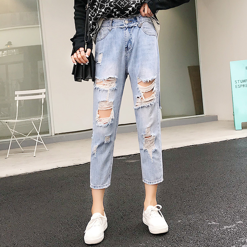 Blue Loose Vintage High Waist Ripped Jeans For Women 9