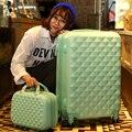 14 + 24 дюймов женщин чемодан счетчик колесные девушки чемодан прокатки luggageBoxes дорожная сумка тележка чехол Hardside алмазов плед